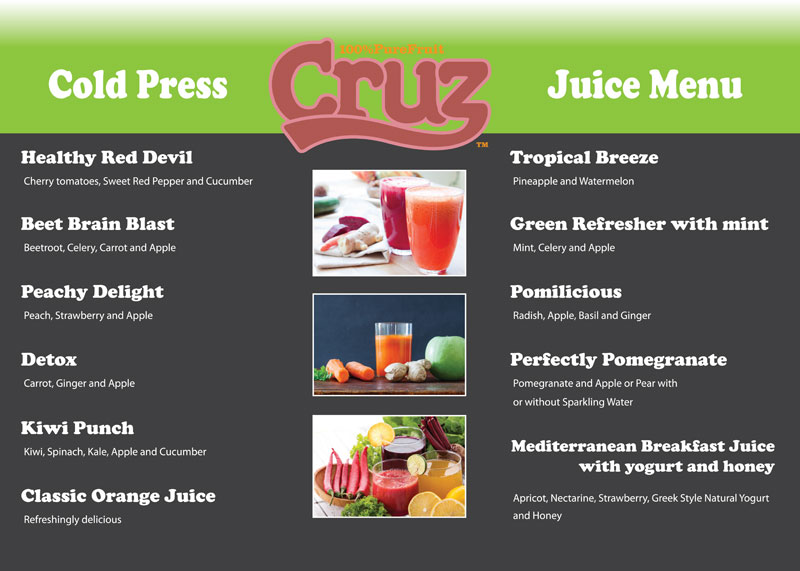 cruz cold press menu