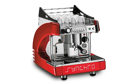 synchro 1 group espresso coffee machine red