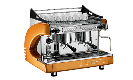 synchro 2 group compact espresso coffee machine orange