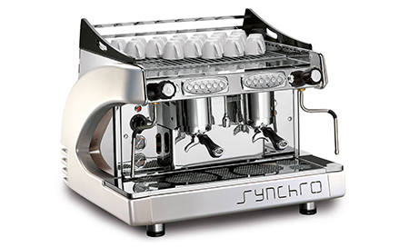 synchro 2 group espresso coffee machine white