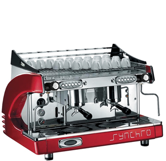 synchro 2 group espresso coffee machine red