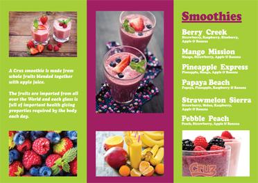 Cruz The Juice sample juicing smoothies menu