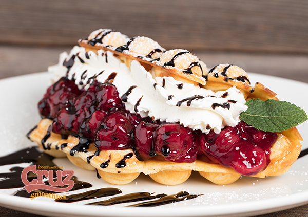 cruz waffles with berries and cream