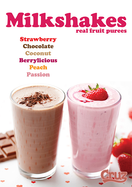 cruz milkshake flavours ingredients