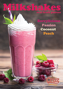 cruz ingredients milkshake fruit puree berrylicious passion coconut peach flavours