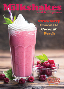 cruz ingredients milkshake fruit puree strawberry chocolate coconut peach flavours